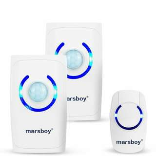 5.[4 in 1 Multi-function] Marsboy Battery Wireless Doorbell Cordless Chimes with 2 Receivers, Motion Sensor/ Burglar Alarm/Flashlight, 500 feet Transmit Range&36 Melodies, 3 Level Adjustable Volume
