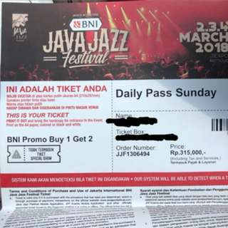 Java Jazz Daily Ticket for 4 March 2018 (Sunday)