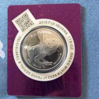 2015 Fiji Iguana 1 oz Fine Silver Coin