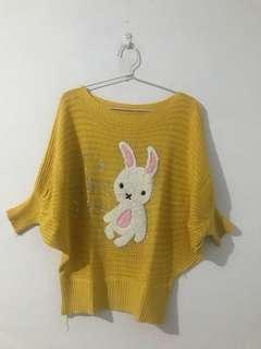 Knit blouse yellow - atasan rajut kuning