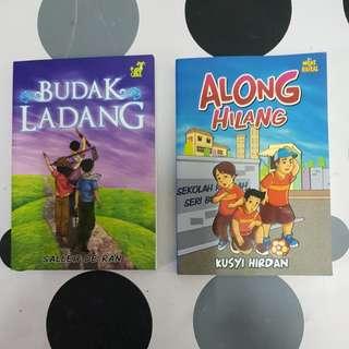 2 Malay Books (1. Budak Ladang  2. Along Hilang)
