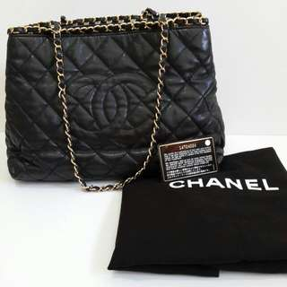 Chanel tote round chain black lamb ghw #14 comes with holo, card & dust bag (30×16×24cm) -jl