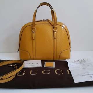 Gucci alma vernish comes with long strap, booklet, sample leather, dust bag and receipt Plaza Indonesia 2014 (32x13x23.5cm)-fn