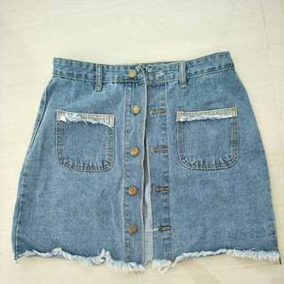 Brand New Light Blue Denim Button Down Skirt