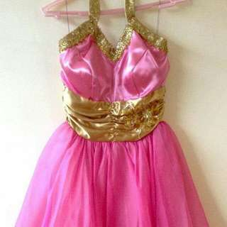 Pink and Gold Tulle Cocktail Gown