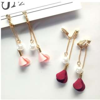 Korean style fashion fabric flower pearl long tassel earrings temperament non pierced ear clip simple female ear cuff
