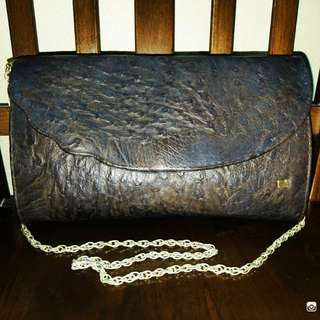 Shoulder Bag Chain Strap Ostrich Printed Leather