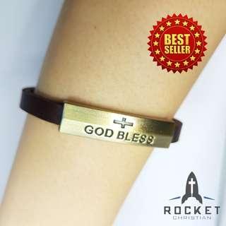 """GOD BLESS"" Leather Bracelet (Available Now)"