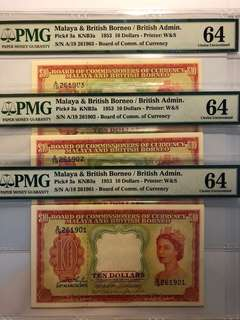 3 pcs of 1953 Malaya & British Borneo QEII $10 running number PMG 64 Choice UNC