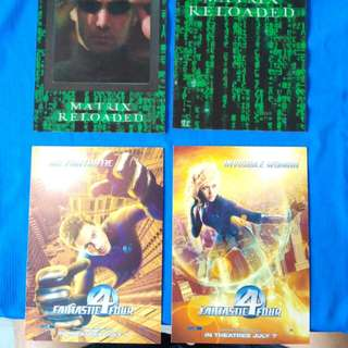 Fantastic Four 4 - 2 x Postcards / The Matrix Reloaded. Movie items