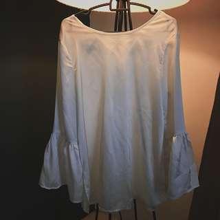 White Belle Sleeves Blouse