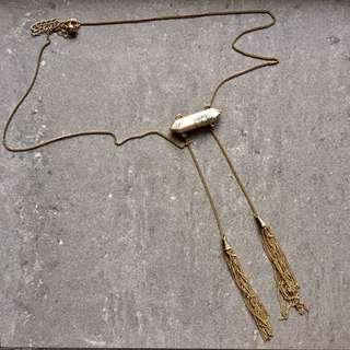 Marbled Gold Tassel Lariat Necklace