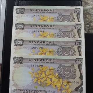 $25 dollar old singapore banknotes