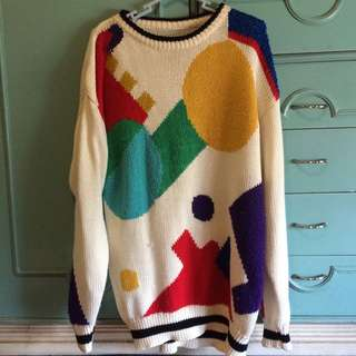 KNITTED GEOMETRIC PATTERNED SWEATER
