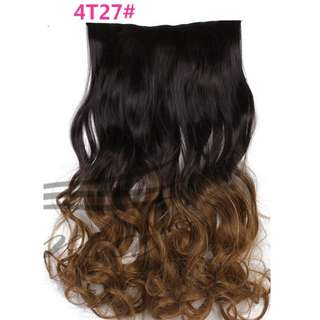 5 Clips Curly Ombre Brownish Black to Caramel Gold