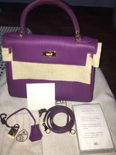 HERMES Kelly 28 GHW, anemone color with complete inclusion