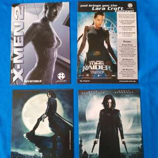 Movie postcards. xmen tombraider underworld