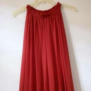 Long dress rufle red