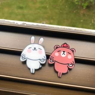 Rabbit and Bear Acrylic Badge ‼️5 FREE 1‼️