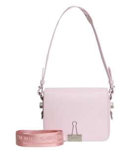 OFF WHITE PINK LEATHER FLAP BAG