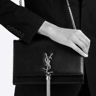 Authentic YSL Saint Laurent Medium Kate Tassel Chain Bag in Black & Gold