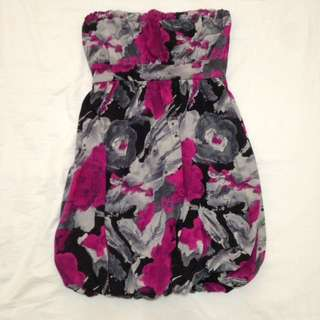 Pink and gray bubble skirt dress