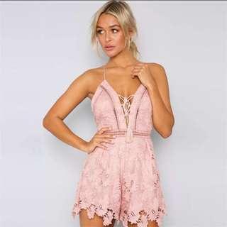 Lace Pink Sweet Cute Summer Romantic Romper 2018
