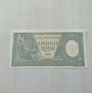 Indonesia 1964 25 Rupiah Unc Crisp Note