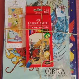 Adult Coloring book, colored pencils and story book plue free book mark