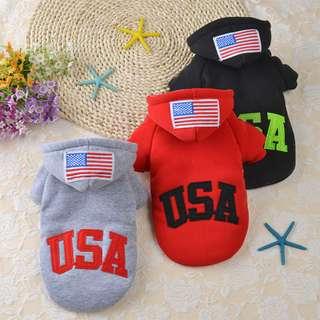 DP雜貨鋪 寵物衣服 USA加厚雙層連帽衛衣兩腳衣 貓狗衣服 馬爾濟斯/貴賓/博美/吉娃娃