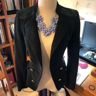 🚚 (二手)韓版修身黑色麂皮西裝外套皮夾克