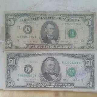 55USD Old Style Bills (USA)