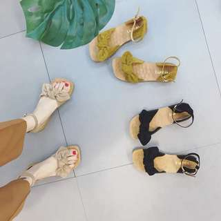 Ladies Korean Style Flat Ribbon Sandals Shoe