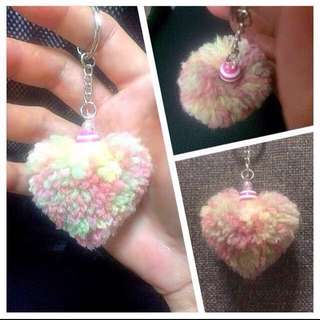 Heart Shape Pom Pom Keychain / Dangle [wool yarn dangles children teacher's birthday graduation valentine day anniversary Christmas Raya customised gifts handmade uncle anthony uac] FOR MORE PICTURES & DETAILS, GO HERE: 👉 http://carousell.com/p/136583466
