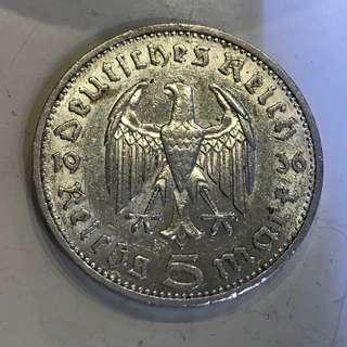 1936年 納粹德國 興登堡 5 Mark 銀幣