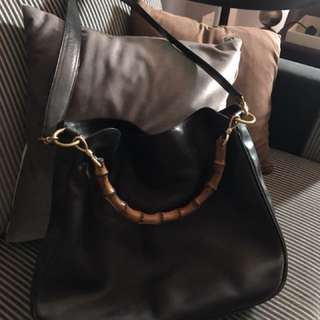 Authentic Black Leather GUCCI Bamboo Sling Bag