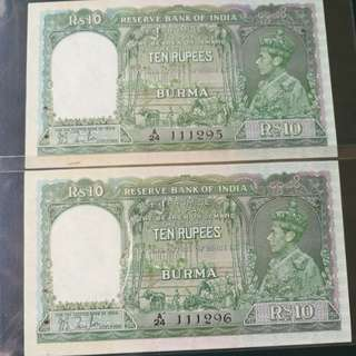 British burma 1937 series 10 r 2 consecutive runs