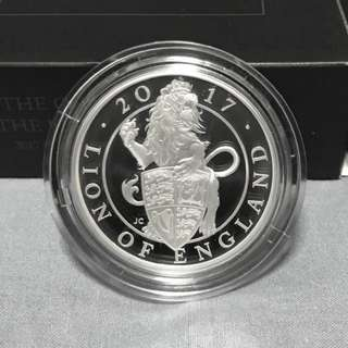 Queen's Beast Lion 2017 GB Proof 1 oz Silver (Box & COA)