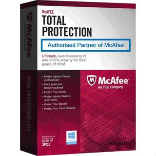 McAfee Total Protection for 3PCs 1-year activation code license