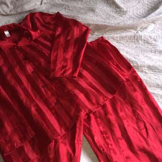 Red Satin PJ's (SIZE M)