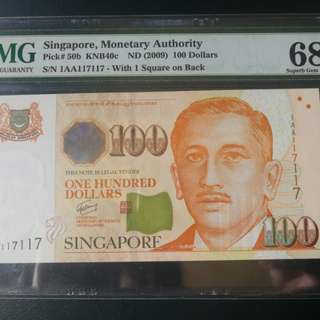 Singapore potraits series $100 repeater nos in very high grade 68 EPQ