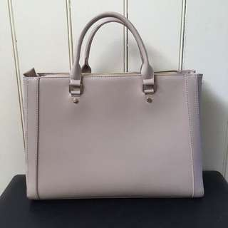 Beige work bag (Saffiano leather look)