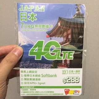 日本sim card 7天無限4G (全新)