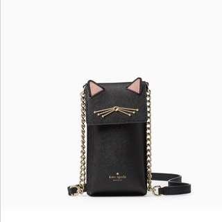 SALE Kate Spade North South Cat Phone Crossbody Black