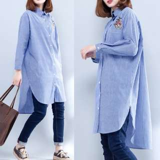 Spring and autumn shirt women long sleeve loose bottoming shirt long shirt shirt