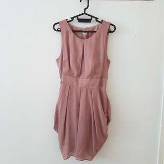 ASOS UK14 sleeveless chiffon peach dress with tie waist