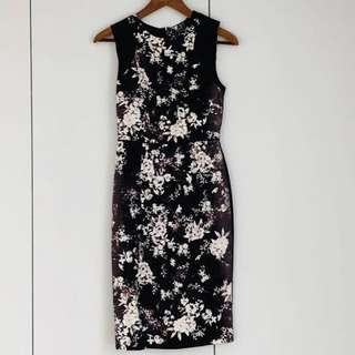 New with Tags Warehouse Black Floral Structured Shift Work Dress