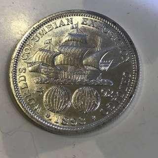 AU級 1893年 美國 國際博覽會 50c 銀幣(5)
