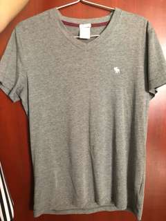 Abercrombie and Fitch V neck shirt grey