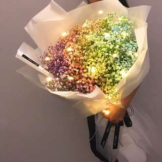 Giant Rainbow Baby's Breath Bouquet | Proposal flower| Anniversary Gift | Birthday Gift